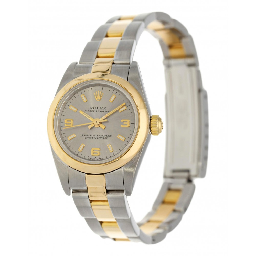 OYSTER PERPETUAL 76183 LADY STAINLESS STEEL YELLOW GOLD 26MM W3688 76183-01