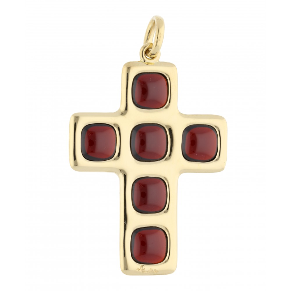 PENDANT CROSS YELLOW GOLD GRANAT J946-01