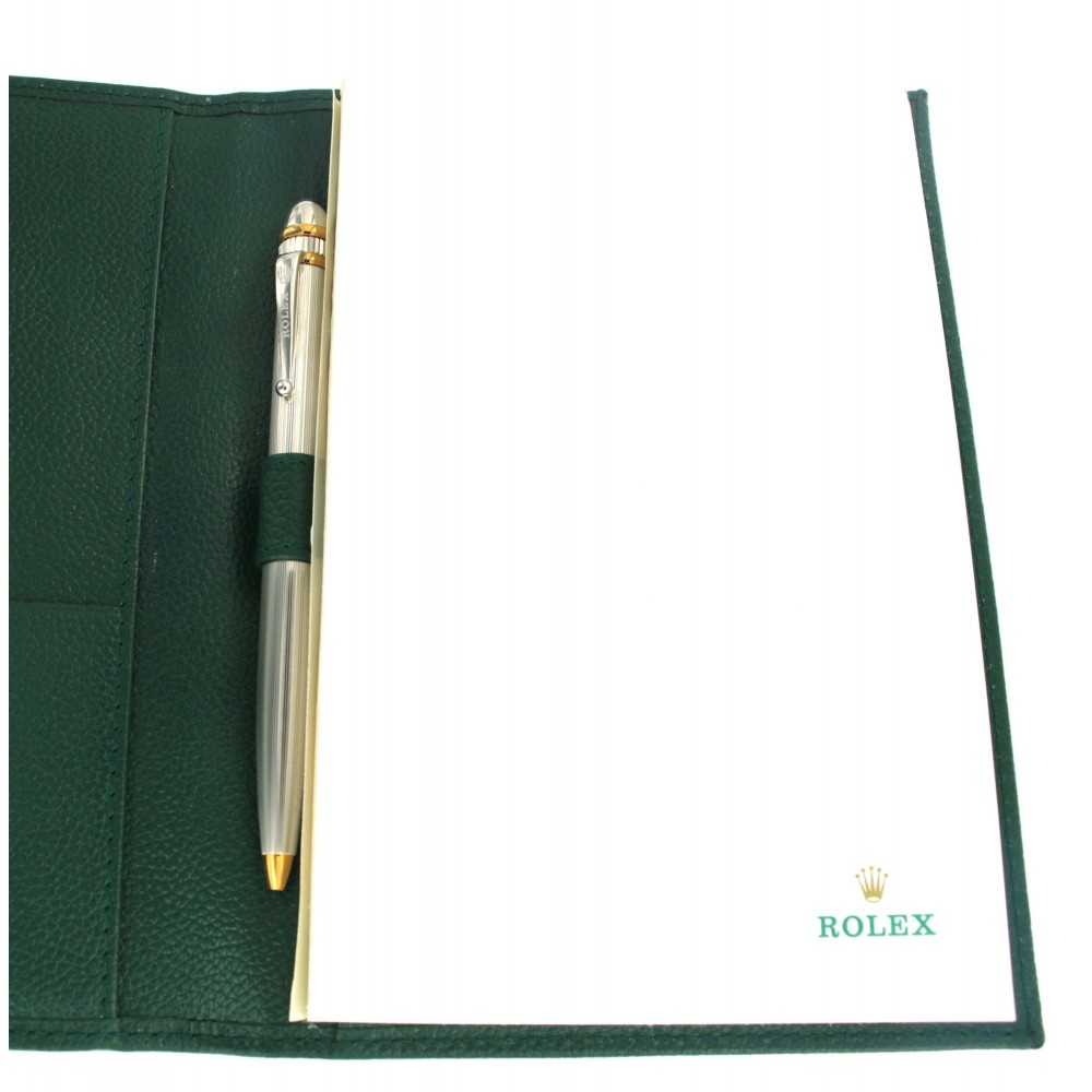 22kt Gold Platinum: ROLEX GREEN LEATHER NOTEPAD WITH 22KT PLATINUM AND YELLOW