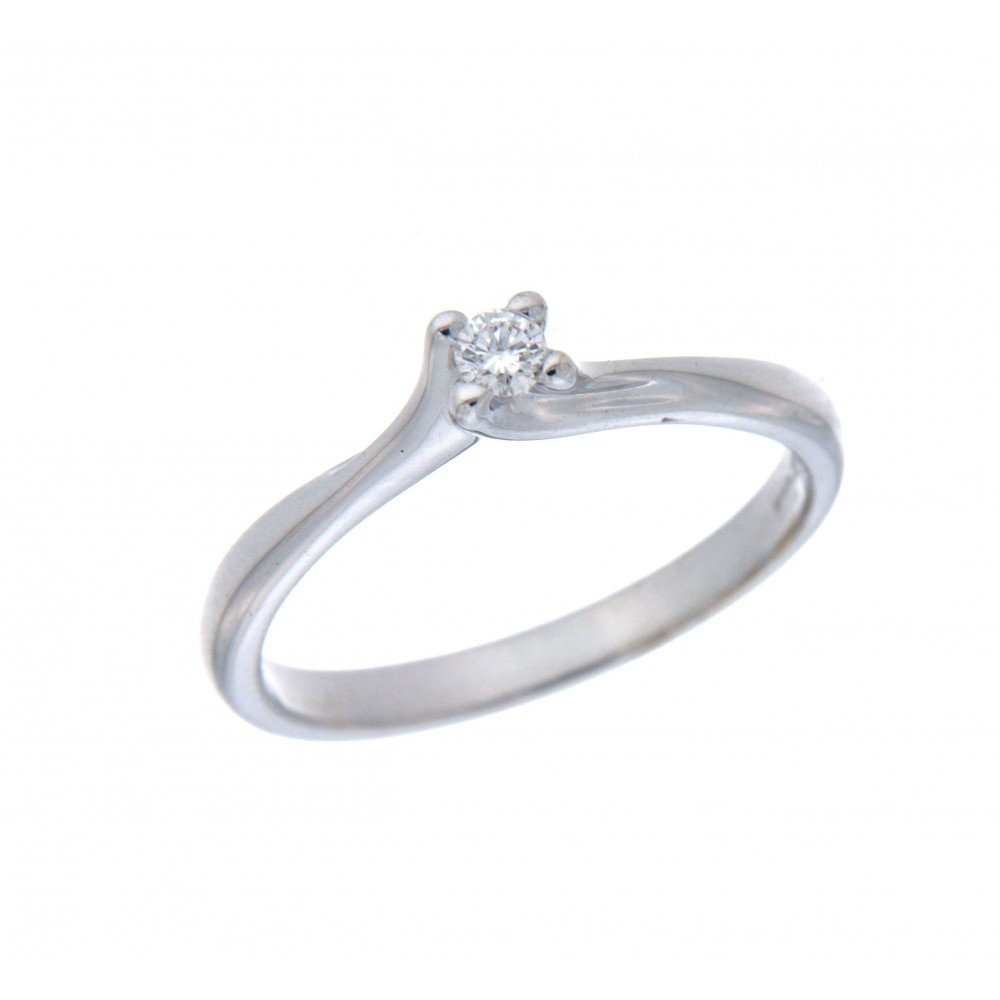 SOLITAIRE DIAMOND RING IN WHITE GOLD ROUND CUT 0.08CT J838-01
