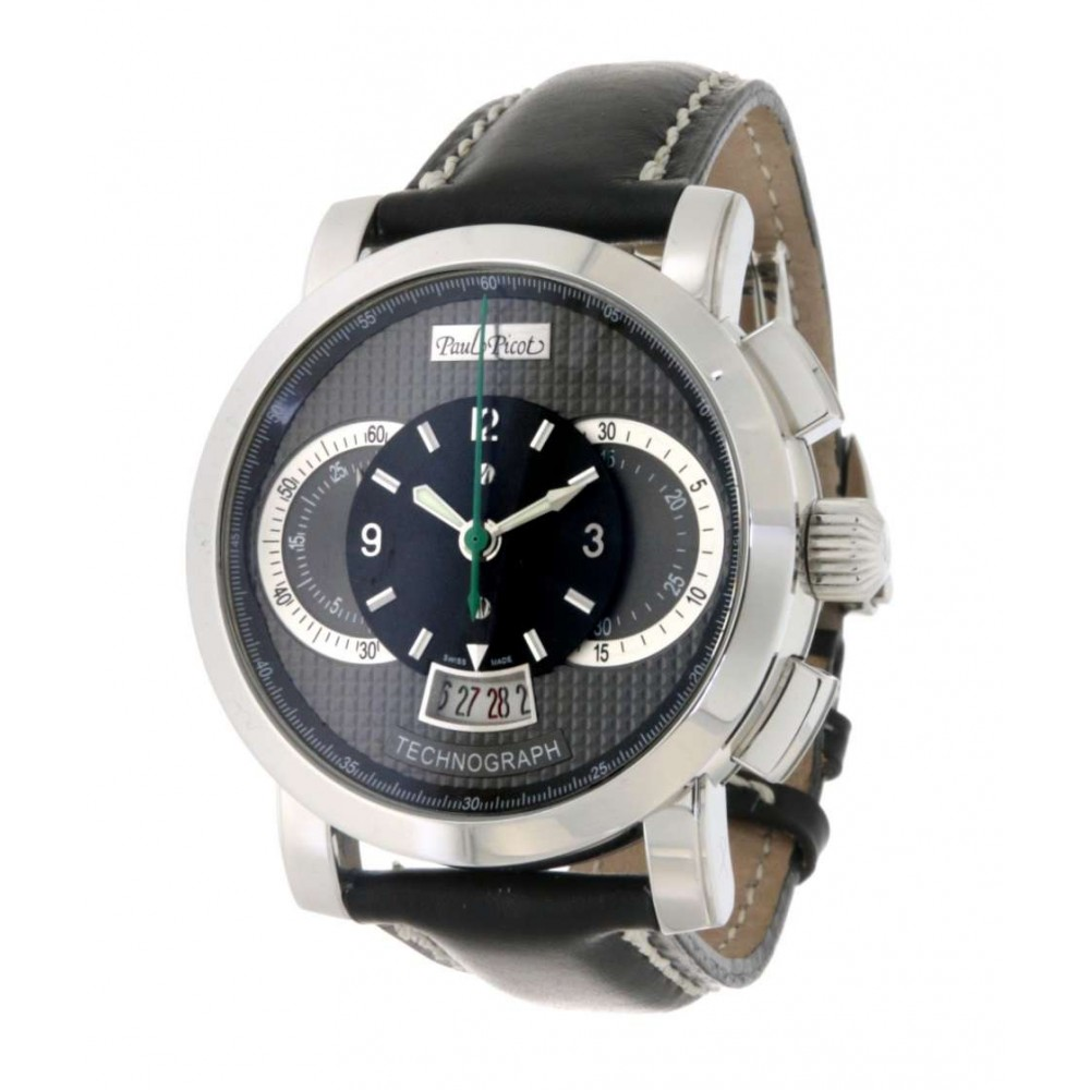 TECHNOGRAPH 0334.S STEEL LEATHER 44MM W430 0334.S-011