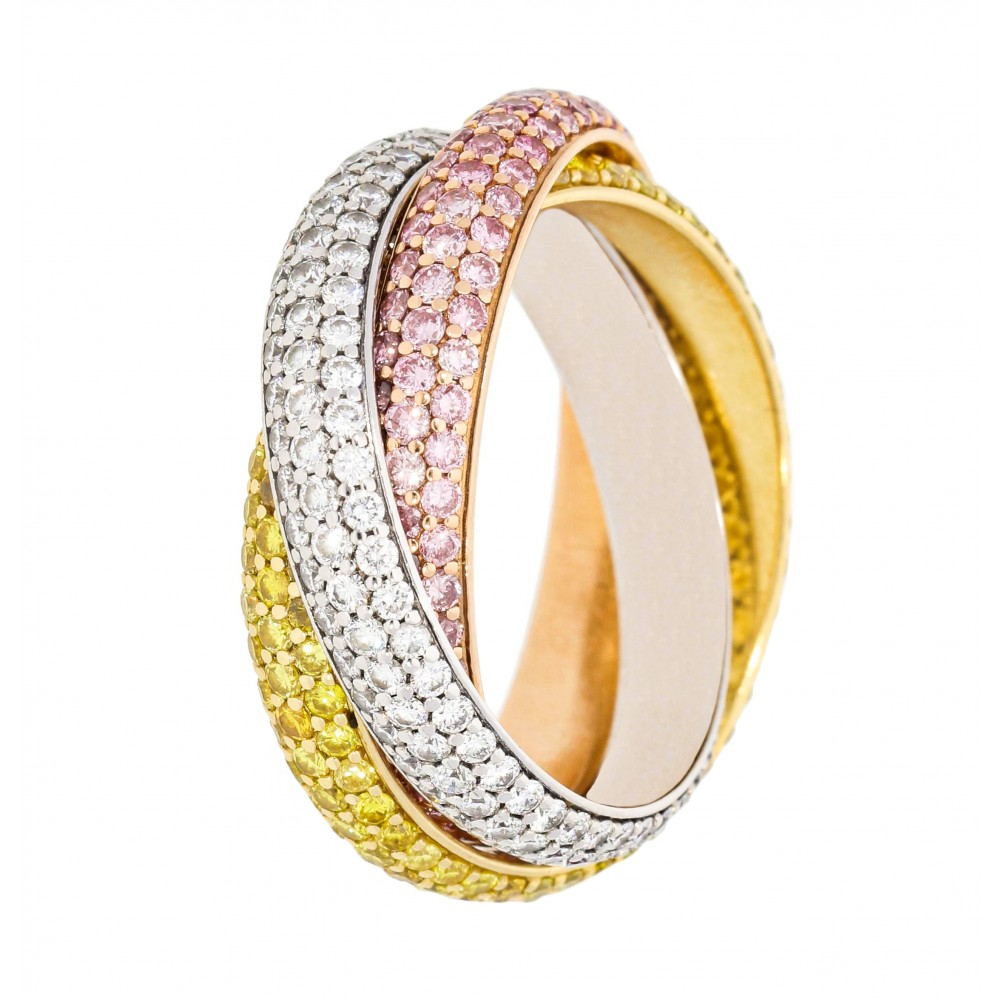 RING TRINITY YELLOW ROSE WHITE GOLD DIAMONDS R1432 M° 55 J1050-01